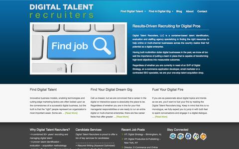 Screenshot of Home Page Site Map Page digitaltalentrecruiters.com - Digital Talent Recruiting & Staffing Specialists | Digital Talent Recruiters - captured Sept. 30, 2014