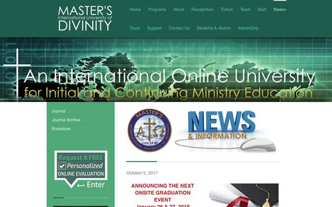 Screenshot of Press Page mdivs.edu - MASTER'S International University of DIVINITY - News+ - captured Oct. 17, 2017