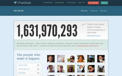 Screenshot of About Page chartbeat.com - About our People | Chartbeat - captured July 19, 2014