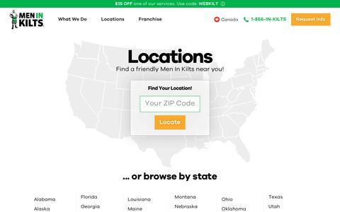 Screenshot of Locations Page meninkilts.com - Locations | Men in Kilts - captured Aug. 22, 2019