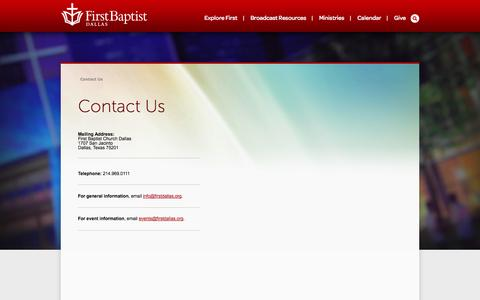 Screenshot of Contact Page firstdallas.org - Contact Us » First Baptist Dallas - captured Oct. 6, 2014