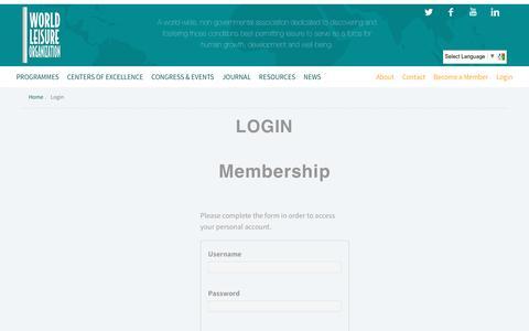 Screenshot of Login Page worldleisure.org - Login – world leisure - captured Dec. 13, 2016