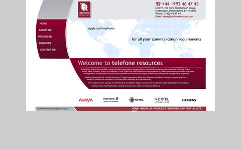 Screenshot of Home Page telefoneresources.com - Avaya, Mitel, Cisco, Nortel / Meridian, Ericsson & Siemens Business Phones, IP, VoIP & PBX Phone System, Office Phone Systems UK - captured Oct. 8, 2014