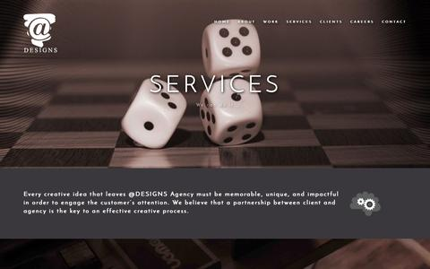 Screenshot of Services Page a-designs.net - Services - captured Oct. 25, 2017