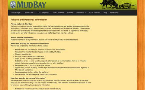 Screenshot of Terms Page mudbay.com - Legal - Mud Bay | Natural Dog & Cat Foods | Pet Supply Stores | Seattle, Bellevue, Tacoma, Portland - for Healthy Dogs and Cats - Mud Bay for Healthy Dogs and Cats - captured July 13, 2018