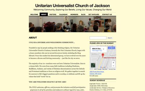 Screenshot of About Page uujackson.org - ABOUT | Unitarian Universalist Church of Jackson - captured Oct. 26, 2017
