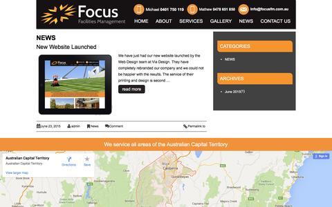 Screenshot of Press Page focusfm.com.au - Canberra Facility Service   Property Maintenance   Office - captured April 19, 2016
