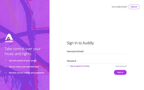 Screenshot of Login Page auddly.com - Auddly - The Song Data Hub - captured Oct. 4, 2018