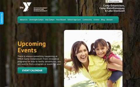 Screenshot of Home Page ycamp.org - YMCA Camp Ockanickon, Inc. | Camp Ockanickon, Camp Matollionequay & Lake Stockwell - captured Sept. 22, 2014
