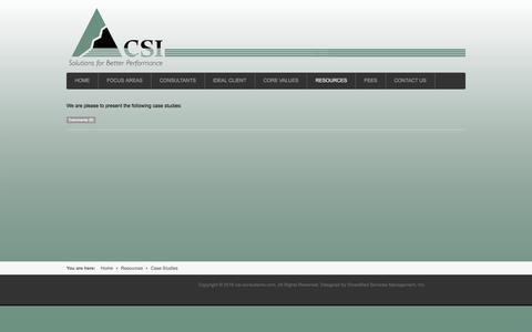Screenshot of Case Studies Page csi-consultants.com - Case Studies - captured Oct. 12, 2016