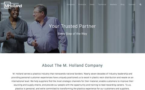Screenshot of About Page mholland.com - Plastic Resin Distribution Company | About M. Holland - captured Sept. 25, 2018