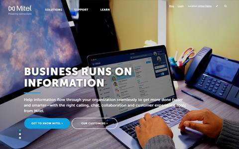 Screenshot of Home Page mitel.com - Meet Mitel - captured May 22, 2018