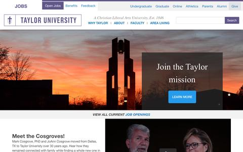 Screenshot of Jobs Page taylor.edu - Taylor University | Jobs - captured Nov. 16, 2018