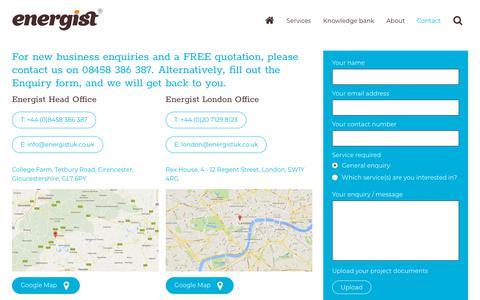 Screenshot of Contact Page energistuk.co.uk - The Building Regulations Specialists   Energist - captured July 19, 2018