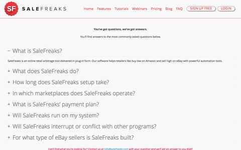 Screenshot of FAQ Page salefreaks.com - FAQ - Salefreaks - captured Feb. 11, 2017