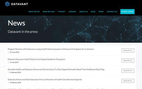 Screenshot of Press Page datavant.com - NEWS - Datavant - captured July 8, 2019