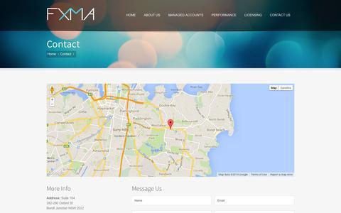 Screenshot of Contact Page fxma.com.au - Contact Us - captured Oct. 5, 2014