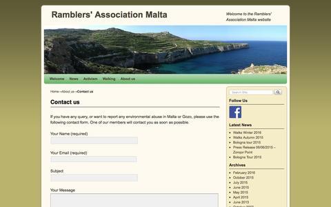 Screenshot of Contact Page ramblersmalta.org - Contact us - captured May 5, 2016