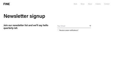 Screenshot of Signup Page wearefine.com - FINE Friends | Join our Top Digital Agency's Mailing List - captured Nov. 17, 2019