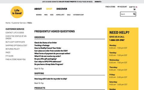 Screenshot of FAQ Page lifeisgood.com - FAQ's | Life is Good® Official Site - captured Nov. 3, 2017