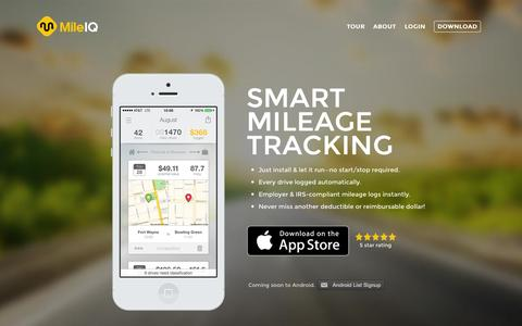 Screenshot of Home Page mileiq.com - Mileage Tracking App | Automatic, Easy, Smart Mileage Log | MileIQ - captured Dec. 13, 2014