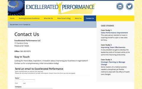 Screenshot of Privacy Page Contact Page excelperform.com - Contact Excellerated Performance 585-303-9215 | Strategic Planning | Executive, Management, Sales Coaching | Michael Caceci | Rochester NY - captured Oct. 22, 2014