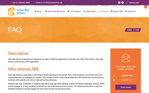 Screenshot of FAQ Page arborbayschool.org - FAQ | Arborbay SchoolArborbay School - captured Dec. 26, 2015