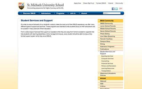 Screenshot of Support Page smus.ca - Student Services and Support | SMUS, Victoria BC - captured Oct. 3, 2014
