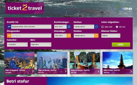 Screenshot of Home Page ticket2travel.is - Ódýrir flugmiðar um allan heim hjá Ticket2Travel.is - captured Oct. 6, 2014
