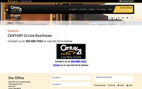 Screenshot of Contact Page century21.com - Lacey, WA Link Real Estate Real Estate Office | Agents | CENTURY 21 - captured May 15, 2017
