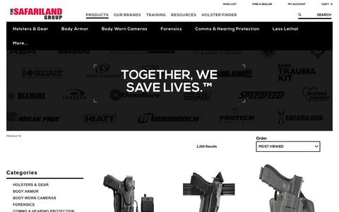Screenshot of Products Page safariland.com - Law Enforcement Gear | The SAFARILAND Group - captured Dec. 13, 2016