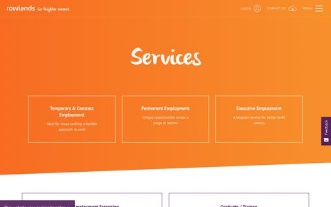 Screenshot of Services Page rowlands.co.uk - Services | Rowlands Recruitment - captured Oct. 20, 2018