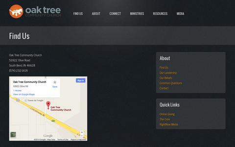 Screenshot of Maps & Directions Page oaktreechurch.com - Find Us | Oak Tree Community Church - captured Oct. 27, 2014