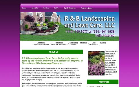 Screenshot of About Page rblandlawn.com - R&B Landscaping & Lawn Care, LLC - captured Oct. 3, 2014