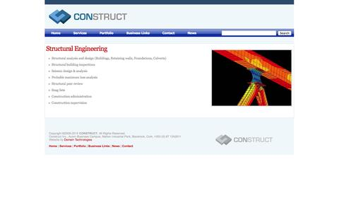 Screenshot of Services Page constructeng.com - CONSTRUCT |   Structural Engineering - captured Oct. 1, 2014