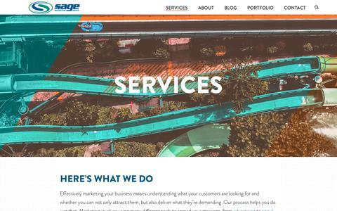 Screenshot of Services Page sagemg.com - Services We Provide at Sage Marketing Group, Fort Collins Colorado - captured Oct. 4, 2017