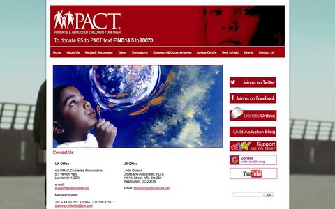Screenshot of Contact Page pact-online.org - Contact Us | PACT | Parents and Abducted Children Together | Parental Abduction | Missing Children | Associate of ICMEC | General | page content - captured Oct. 1, 2014