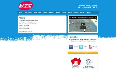Screenshot of Press Page worldtennischallenge.com - Media - World Tennis Challenge - captured Oct. 29, 2014