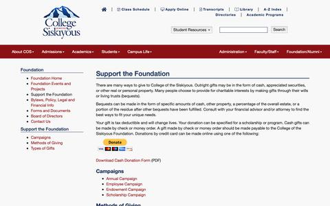 Screenshot of Support Page siskiyous.edu - Support the Foundation - COS  Foundation - captured Sept. 28, 2018