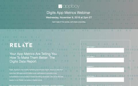 Screenshot of Landing Page appboy.com - Digits App Metrics Webinar | Appboy - captured Oct. 29, 2016