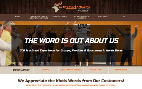 Screenshot of Testimonials Page cinnamoncreekranch.com - Cinnamon Creek Ranch Archery | Customer Reviews | Roanoke, Texas - captured Sept. 28, 2018
