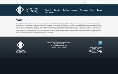 Screenshot of Privacy Page paragon-partners.com - Privacy  |  Paragon Partners Ltd – A leading Right of Way & Real Estate Consultant - captured Sept. 27, 2014