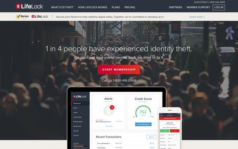 Screenshot of Home Page Privacy Page lifelock.com - Identity Theft Protection From ID & Credit Fraud | LifeLock - captured April 3, 2017