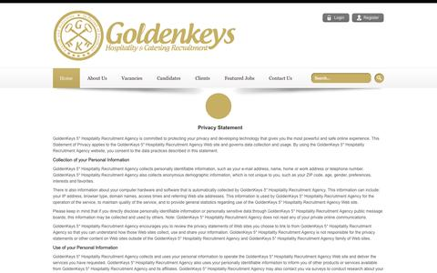 Screenshot of Privacy Page goldenkeys.co.uk - Catering and Hospitality Jobs, Chef Recruitment Agencies in London, UK - captured Oct. 2, 2014