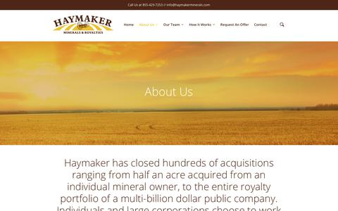 Screenshot of About Page haymakermineralsandroyalties.com - About Us - Haymaker Minerals & Royalties - captured July 24, 2017