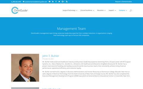 Screenshot of Team Page omni-guide.com - Management Team » OmniGuide - captured Oct. 12, 2017