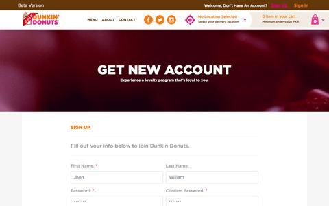 Screenshot of Signup Page dunkindonuts.pk - Dunkin Donuts | SignUp - captured Nov. 14, 2018