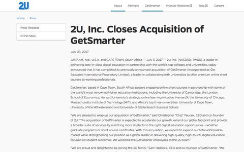 2U,Inc. Closes Acquisition of GetSmarter - Press | 2U