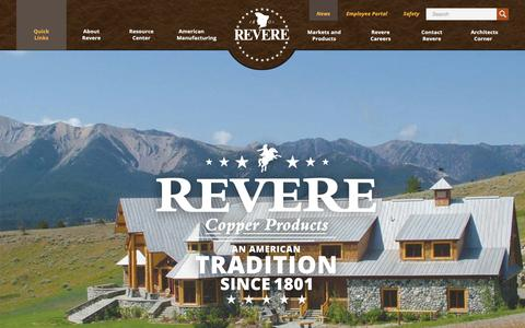 Screenshot of Home Page reverecopper.com - Home | Revere Copper - captured Oct. 18, 2018