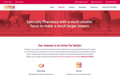 Screenshot of About Page solerarx.com - Our Company - Solera Specialty Pharmacy - captured Oct. 18, 2018